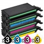 3 sets of 4-Pack Compatible Samsung CLP-610/660,CLX-6210FX/6240FX Toner Cartridge [3BK,3C,3M,3Y]