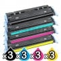 3 sets of 4 Pack HP Q6000A-Q6003A (124A) Compatible Toner Cartridges [3BK,3C,3M,3Y]