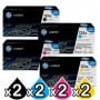 2 sets of 4 Pack HP Q6000A-Q6003A (124A) Genuine Toner Cartridges [2BK,2C,2M,2Y]