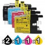 5 Pack Brother LC73/LC77XL Compatible High Yield Ink Cartridge [2BK,1C,1M,1Y]