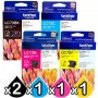 5 Pack Genuine Brother LC-73 Ink Combo [2BK+C+M+Y]