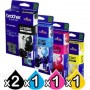 5 Pack Genuine Brother LC-38 Ink Combo [2BK+C+M+Y]