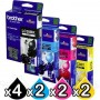 10 Pack Genuine Brother LC-38 Ink Combo [4BK+2C+2M+2Y]