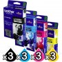 12 Pack Genuine Brother LC-38 Ink Combo [3BK+3C+3M+3Y]