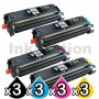 3 sets of 4 Pack HP Q3960A-Q3963A (122A) Compatible Toner Cartridges [3BK,3C,3M,3Y]