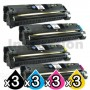 3 sets of 4 Pack HP C9700A-C9703A (121A) Compatible Toner Cartridges [3BK,3C,3M,3Y]