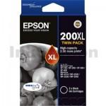Epson 200XL (C13T201194) Genuine Black Twin Pack High Yield Inkjet Cartridge [2BK]- 500 pages each