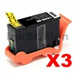 3 x Lexmark No.150XL (14N1614AAN) Compatible Black Ink High Yield Cartridge Return Program - 750 pages