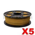 5 x ABS 3D Filament 1.75mm Gold - 1KG