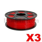 3 x ABS 3D Filament 1.75mm Red - 1KG