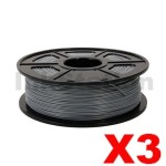 3 x ABS 3D Filament 1.75mm Silver - 1KG