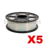 5 x ABS 3D Filament 1.75mm Transparent - 1KG