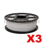 3 x ABS 3D Filament 1.75mm White - 1KG