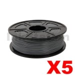 5 x PLA 3D Filament 1.75mm Grey - 1KG