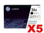 5 x HP CF226X (26X) Genuine Black Toner Cartridge - 9,000 Pages