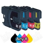Any 8 Compatible Brother LC-137XLBK + LC-135XLC/M/Y Ink Cartridges
