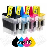 Any 12 Brother LC-47 Compatible Inkjet Combo