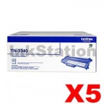 5 x Genuine Brother TN-3340 High Yield Toner - 8,000 pages