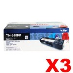 3 x Genuine Brother TN-348BK Black Toner Cartridge - 6,000 pages