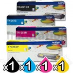 4-Pack Brother TN-251 Genuine Toner Combo [1BK,1C,1M,1Y]