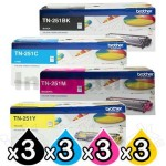 3 sets of 4-Pack Brother TN-251 Genuine Toner Combo [3BK,3C,3M,3Y]