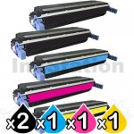 5 Pack HP C9730A-C9733A (645A) Compatible Toner Cartridges [2BK,1C,1M,1Y]