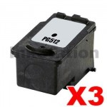 3 x Canon PG-512 Black High Yield Compatible InkJet Cartridge - 401 pages