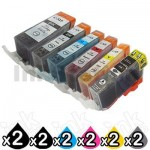 12-Pack Canon PGI-525, CLI-526 Compatible Inkjet (with Chip) [2BK,2PBK,2C,2M,2Y,2GY]