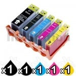 5-Pack Canon PIXMA iX7000,MX7600 Compatible InkJet Cartridge [1BK,1PBK,1C,1M,1Y]