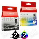 4 Pack Canon PGI-35BK CLI-36C Genuine InkJet Cartridges [2BK,2C]