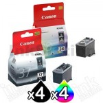 8 Pack Genuine Canon PG-37 CL-38 Ink Cartridges [4BK,4C]