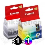 2 pack Canon PG-40 & CL-41 Genuine Ink Cartridges [1BK,1C]