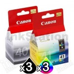 6 pack Canon PG-40 & CL-41 Genuine Ink Cartridges [3BK,3C]
