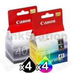 8 pack Canon PG-40 & CL-41 Genuine Ink Cartridges [4BK,4C]