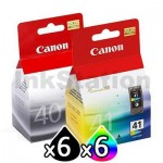 12 pack Canon PG-40 & CL-41 Genuine Ink Cartridges [6BK,6C]