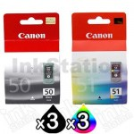 6 Pack Canon PG-50 CL-51 Genuine Inkjets [3BK,3C]