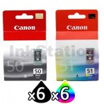 12 Pack Canon PG-50 CL-51 Genuine Inkjets [6BK,6C]