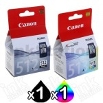 2 Pack Canon PG-512 CL-513 Genuine High Yield Inkjets [1BK,1C]