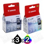 5 Pack Canon PG-512 CL-513 Genuine High Yield Inkjets [3BK,2C]