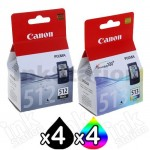 8 Pack Canon PG-512 CL-513 Genuine High Yield Inkjets [4BK,4C]