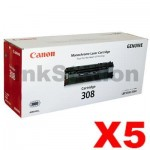 5 x Canon CART-308 Black Genuine Toner Cartridge 2,500 Pages