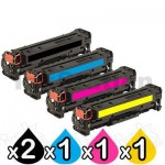 5 Pack HP CC530A-CC533A (304A) Compatible Toner Cartridges [2BK,1C,1M,1Y]