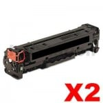 2 x HP CC530A (304A) Compatible Black Toner Cartridge - 3,500 Pages