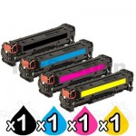 4 Pack HP CF210X-CF213A (131X) Compatible Toner Cartridges [1BK,1C,1M,1Y]