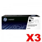 3 x HP CF279A (79A) Genuine Black Toner Cartridge - 1,000 Pages