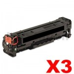 3 x HP CF400X (201X) Compatible Black Toner Cartridge - 2,800 Pages