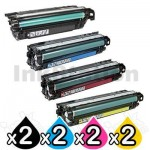 2 Sets of 4 Pack HP CE264X, CF031A-CF033A (646X/646A) Compatible Toner Cartridges [2BK,2C,2M,2Y]