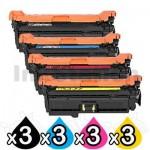 3 Sets of 4 Pack HP CF320A-CF323A (652A/653A) Compatible Toner Cartridges  [3BK,3C,3M,3Y]