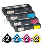 2 Sets of 4 Pack Non-Genuine alternative for TK-154 Toner Cartridges suitable for Kyocera FS-C1020MFP [2BK,2C,2M,2Y]