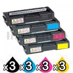 3 Sets of 4 Pack Non-Genuine alternative for TK-154 Toner Cartridges suitable for Kyocera FS-C1020MFP [3BK,3C,3M,3Y]
